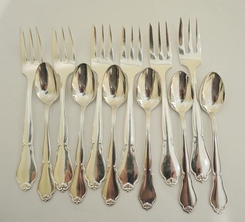 Vintage Danish Cohr Silver Ambrosius silver plate 12pce cake fork set