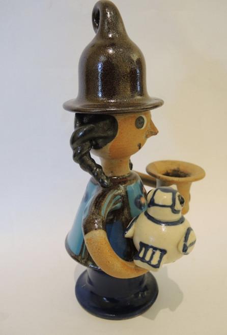 Vintage Danish Art Pottery Erling & Karin Heerwagen Girl and Bird Figure