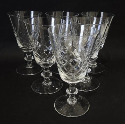 6 Danish Lyngby Eaton Antik Fine Crystal Red Wine Glasses 175mls