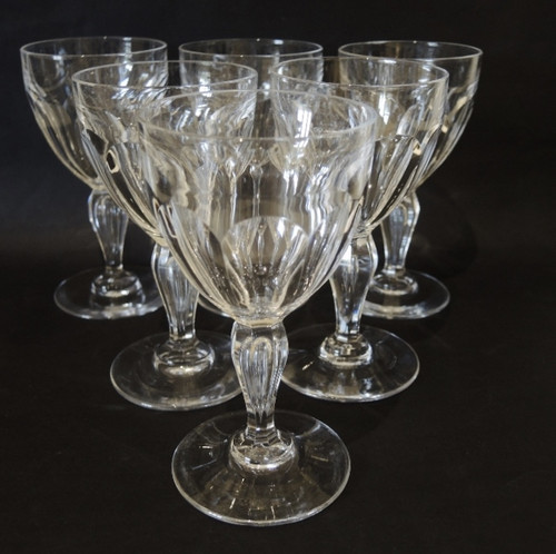 6 Vintage cut crystal Val St Lambert by Holmegaard Poul white wine glasses