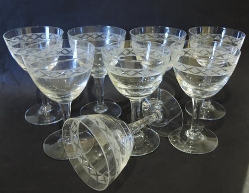 8 Vintage Holmegaard Ejby red wine glasses Jacob Bang c1950