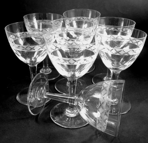 8 Vintage Holmegaard Cut & Etched Ejby red wine glasses Jacob Bang c1950