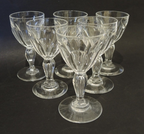 6 Vintage cut crystal Val St Lambert by Holmegaard Poul 40ml wine glasses