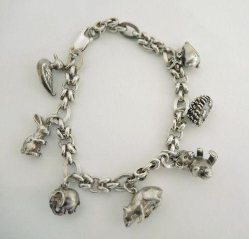 Vintage Chunky Sterling Silver Animal Charm Bracelet