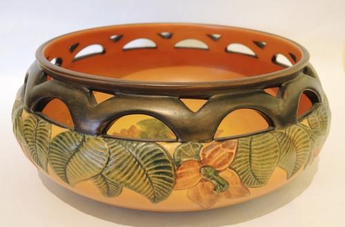 Art Nouveau Vintage Danish Art Pottery P Ipsens Bowl with Hibiscus