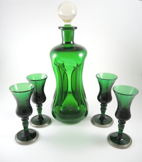 Vintage Holmegaard Green Kluck Decanter & 4 Bell Schnapps Glasses Pewter Trim