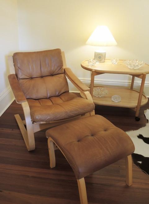 Vintage Scandinavian Leather Bentwood Beech Chair & Footstool