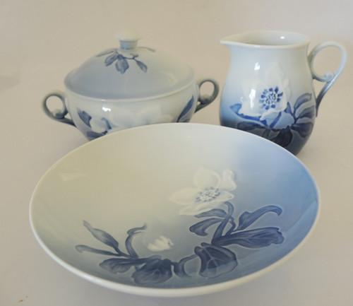 Vintage Danish Bing & Grondahl blue & white Christmas Rose Milk Jug & Sugar Bowl