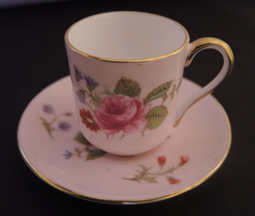 Miniature Shelley Cup and Saucer Rose & Red Daisy pink Colourway