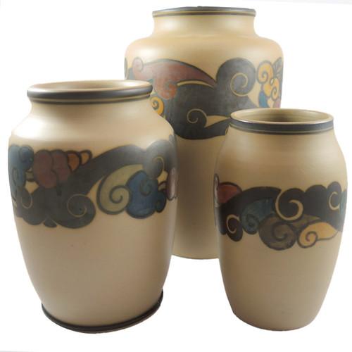 Trio of Art Deco Hjorth Pottery Vases