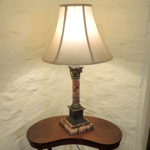 Ornate French Antique Pink Marble Corinthian Column Lamp