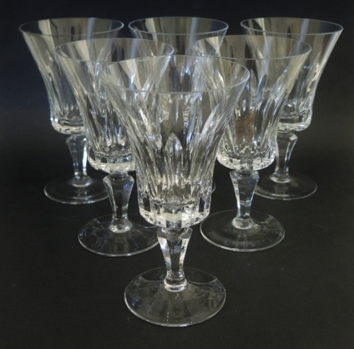 6 Danish Lyngby Paris Cut Crystal Red Wine Glasses