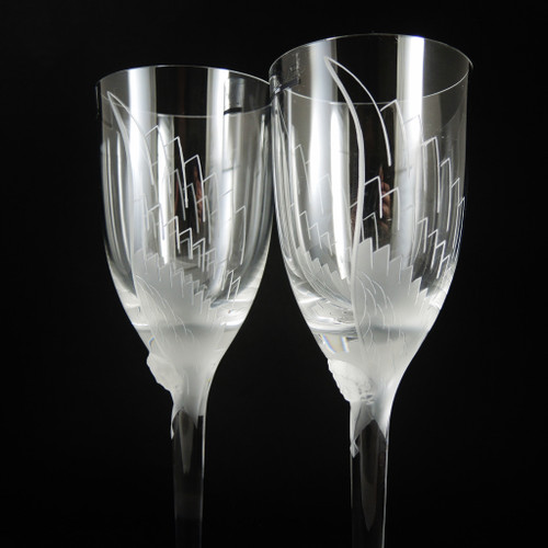 Vintage French Lalique 'Ange' Angel Crystal Champagne Flutes