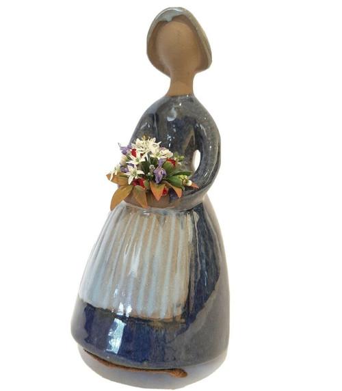 Vintage 19cm Jie Gantofta Swedish Art Pottery Posy Girl Figure