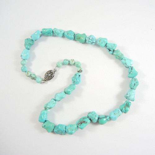 Antique Export Chinese Natural Nugget Turquoise Necklace Filigree Clasp