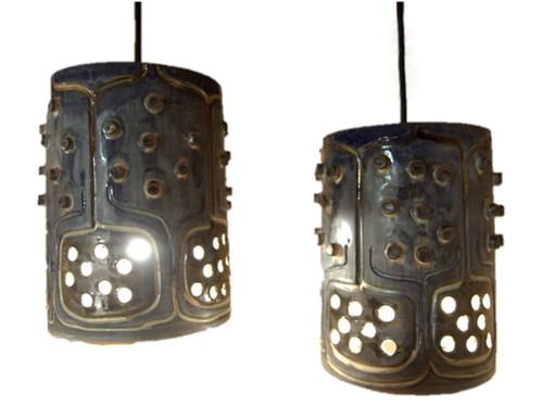 2 Vintage Mid Century Danish Pottery Pendant Ceiling lights