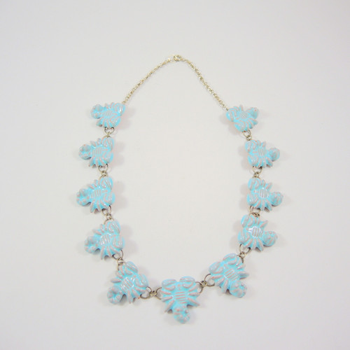 Vintage Danish Ceramic Scorpion Necklace Turquoise Glaze