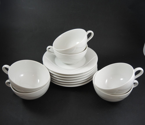 6 Vintage Rorstrand Quattro Bianco Cups and Saucers Sweden