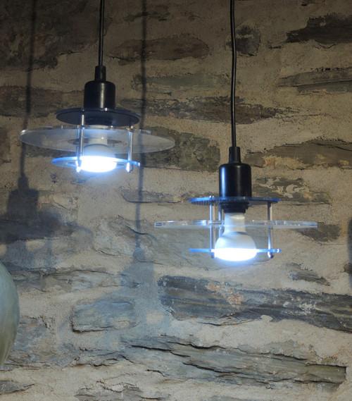 2 Vintage Danish Perspex Flying Saucer Pendant Lights