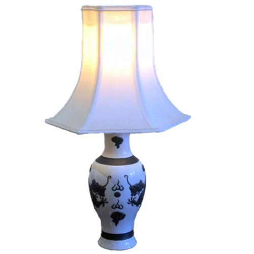 Antique Chinese Nanking Dragon Crackle Ware Ceramic Lamp