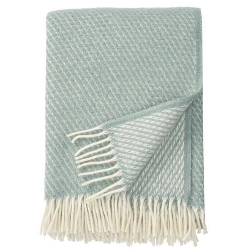 Brand New Klippan 100% Lambs Wool Duck Egg Blue Velvet Blanket 130cm x 200cm