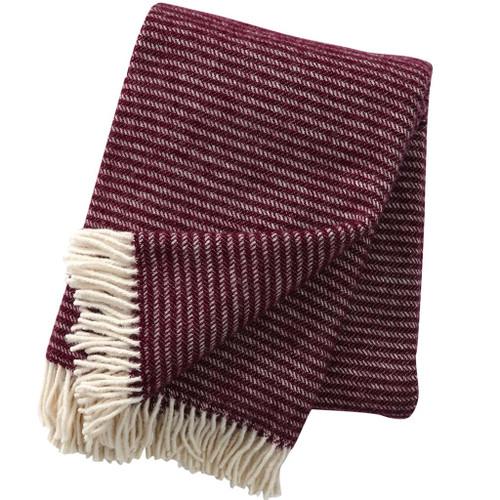 Brand New Klippan 100% Eco Lambs Wool Ralph Aubergine Blanket 130cm x 200cm