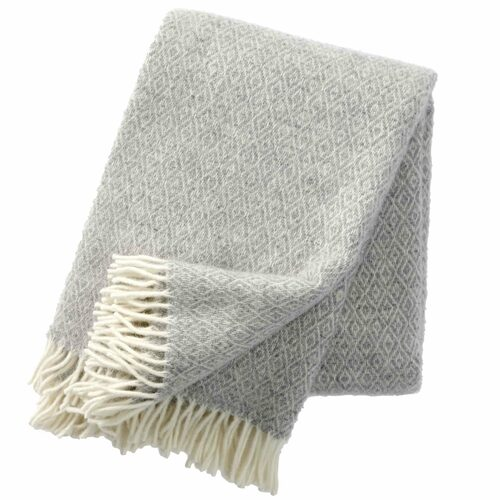 Brand New Klippan 100% Lambs Wool Light Grey Stella Blanket 130cm x 200cm