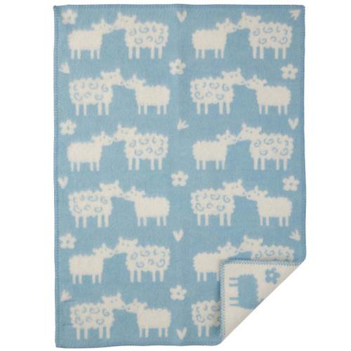 Brand New Klippan Lambs Wool Baby Blanket Blue Baa-In stock.