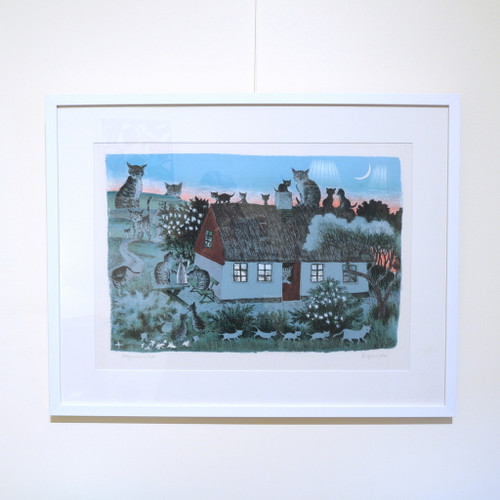 Framed Vintage Cat House Signed Lithograph by Ib Spang Olsen