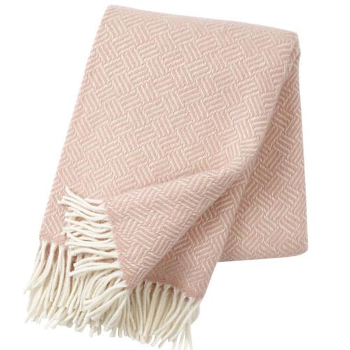 Brand New Klippan 100% Lambs Wool Samba Rose Cloud Blanket 130cm x 200cm