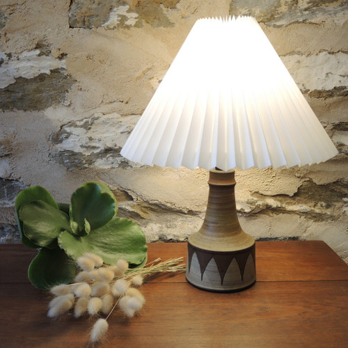 Vintage Small Danish Mid- Century Art Pottery Table Lamp by Hyllested