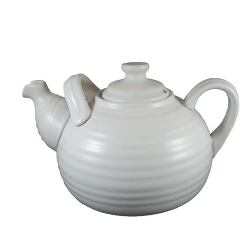 Vintage Large Mid Century Ribbed Pottery Grey White Teapot