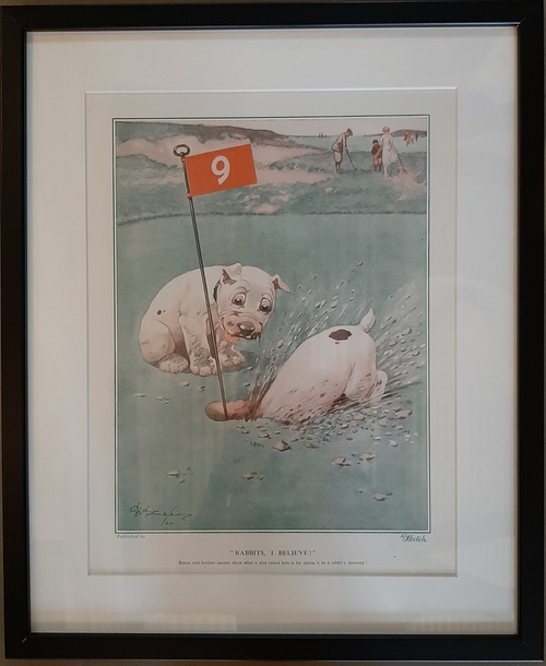 "Bonzo Studdy Dogs 1920's Golf Print Framed ''Rabbits, I believe!"""