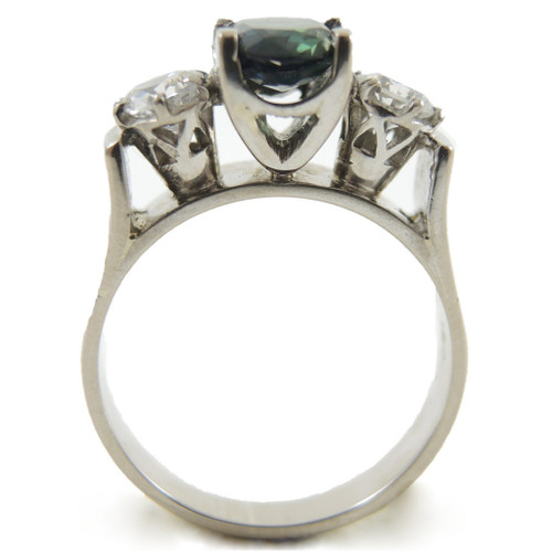 Vintage 18ct White Gold Ring With Green Sapphires, Cubic Zirconium and Diamonds