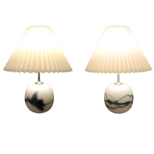 Pair Mid Century Vintage Holmegaard 'Sakura' Art Glass Table Lamps