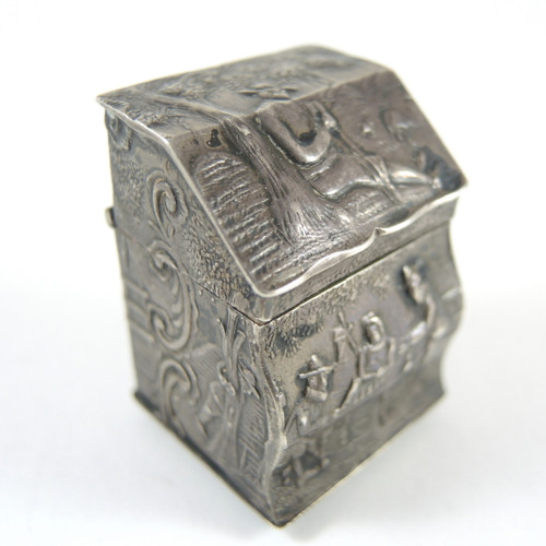 Antique Hinged Lidded Ornate Dutch Silver Snuff or Pill Box 1909
