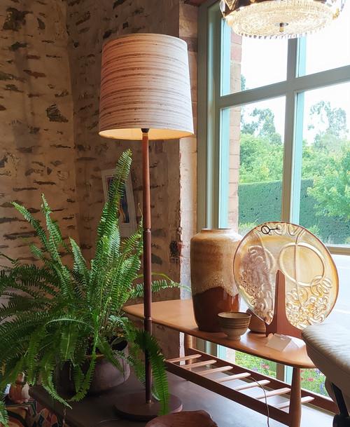 Vintage Mid Century Danish Rosewood Brass Banded Standard / Floor Lamp with original shade
