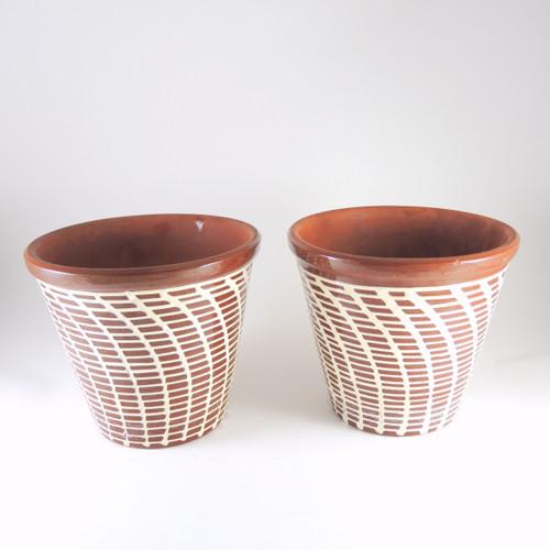 2 Vintage Retro Knabstrup Terracotta Flower Pots Denmark