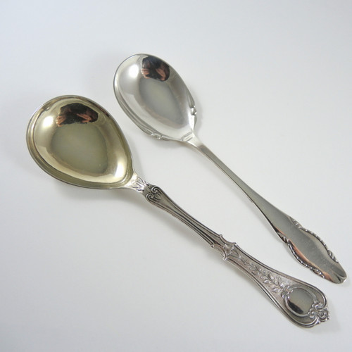 2 Vintage & Antique  Danish Solid Silver Small Serving Spoons 1887 1928.