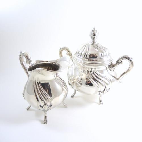 German Art Deco Original Wellner Silver Plate Sugar Bowl and Jug c1940