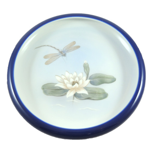 Vintage Royal Copenhagen Hand Painted Waterlily Dragonfly Bowl