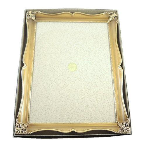 Vintage Ornate Jyden Danish Brass Frame Convex Glass photo size 24cm x 18cm.