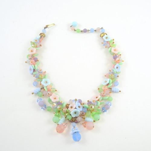 Vintage 1950's Pastel Art Glass Flower Necklace