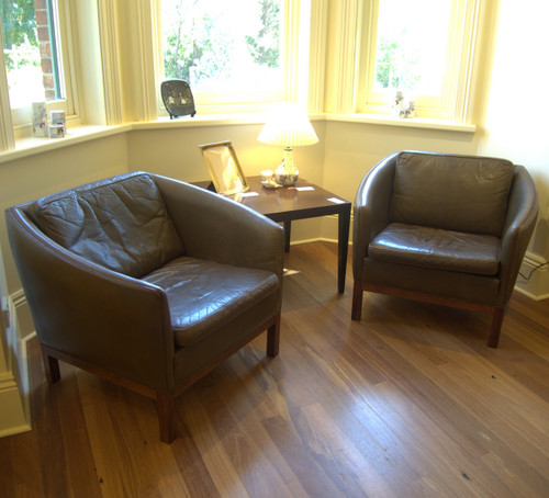 Vintage Danish Leather Tub Chairs with Rosewood legs
