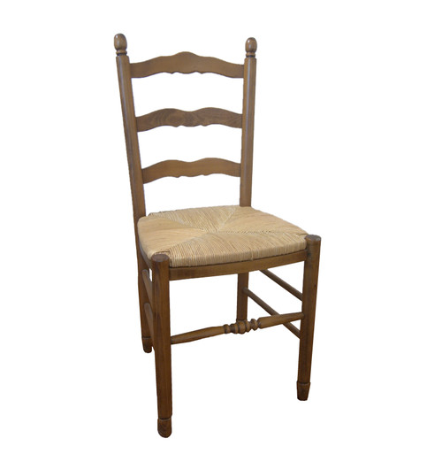 Vintage Italian Ladder Back Dining chairs with Rush Woven Seats