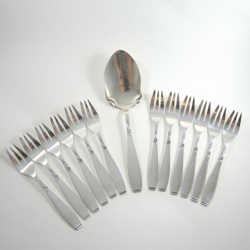 12 Vintage Danish Silver Plate Cake Forks & Knife Set Lilymore A. Prip