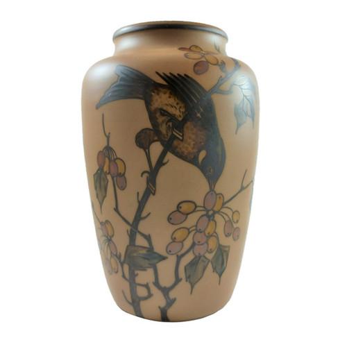 Art Deco Vintage 20cm Danish Hjorth Bird in a Crab Apple Tree Vase