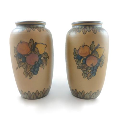 Pair of Art Deco Hjorth Pottery Mantle Vases