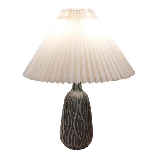 Vintage Mid-Century Sgraffito Pottery Lamp Hans Rudolf Petersen Denmark