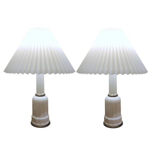 Vintage Danish Heiberg Lamps with new Pleated Shades.